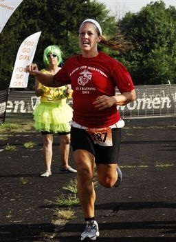 Me finishing the 2011 Trek Women Series Sprint Triathlon in Howell, MI.
