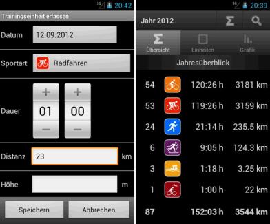 Screenshots of SportLog.