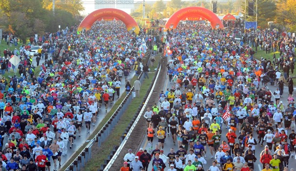 The starting gates for the Marine Corps Marathon, Washington D.C.