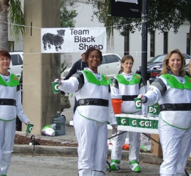 Most of the volunteers for the Space Coast Marathon dress in a spaced theme costume!