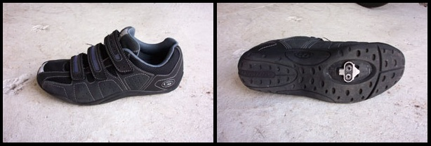 A sample pair of clipless biking shoes with the clip attached to the bottom of the shoe.